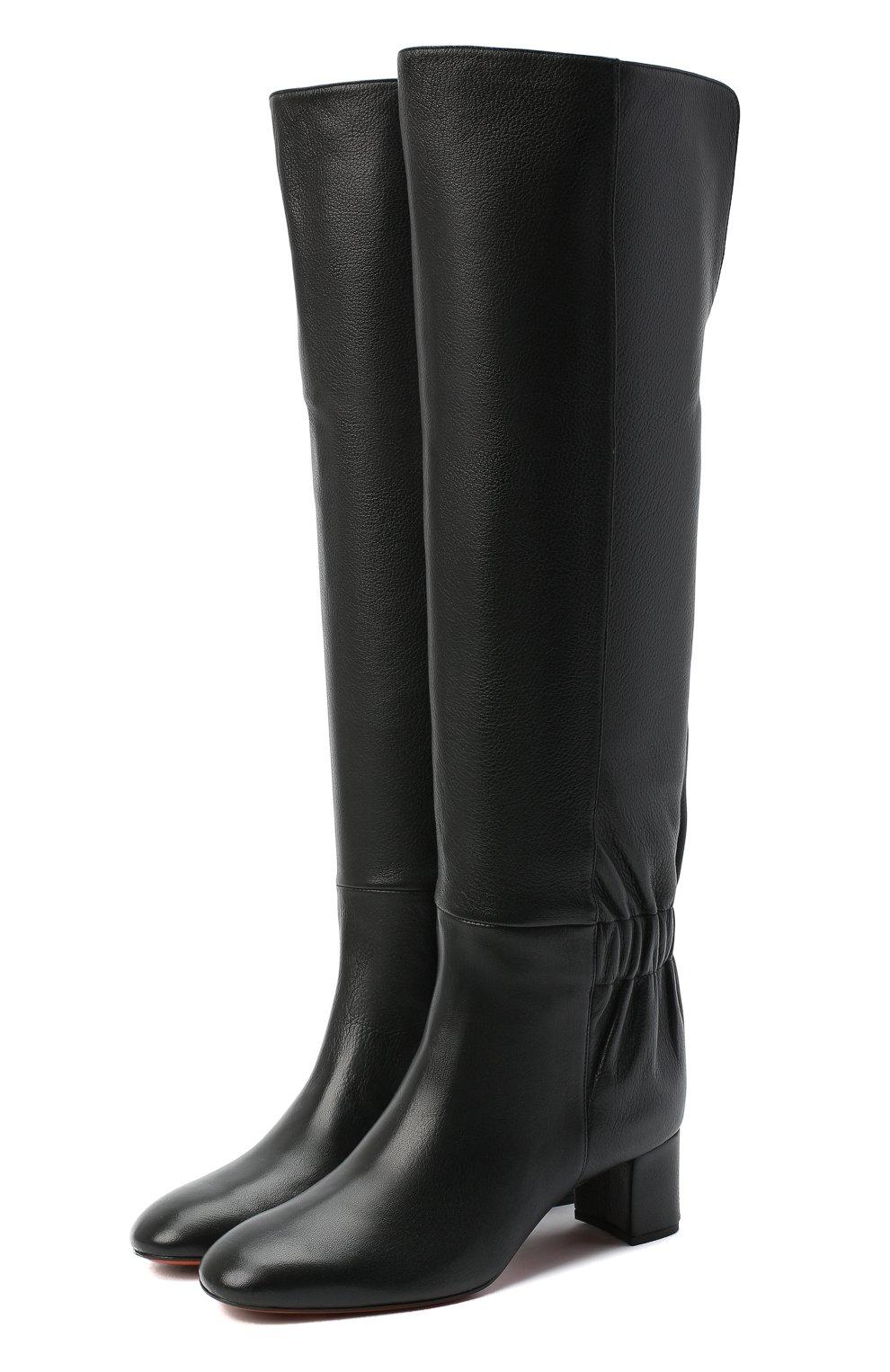 Женские кожаные сапоги SANTONI черного цвета, арт. WSNC58798HI2NLY0N01 | Фото 1