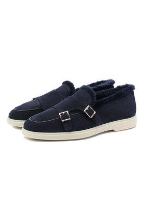 Женские замшевые ботинки SANTONI синего цвета, арт. WUYA58865TISAPFRU60   Фото 1