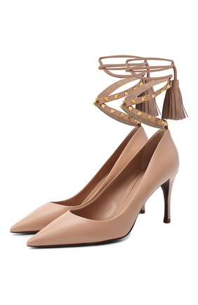 Женская кожаные туфли valentino garavani rockstud VALENTINO бежевого цвета, арт. UW2S0Z08/GYH | Фото 1