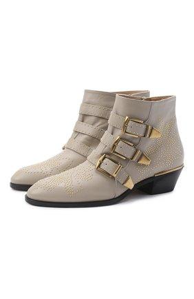 Женские кожаные ботинки susanna CHLOÉ серого цвета, арт. CHC16A13475 | Фото 1