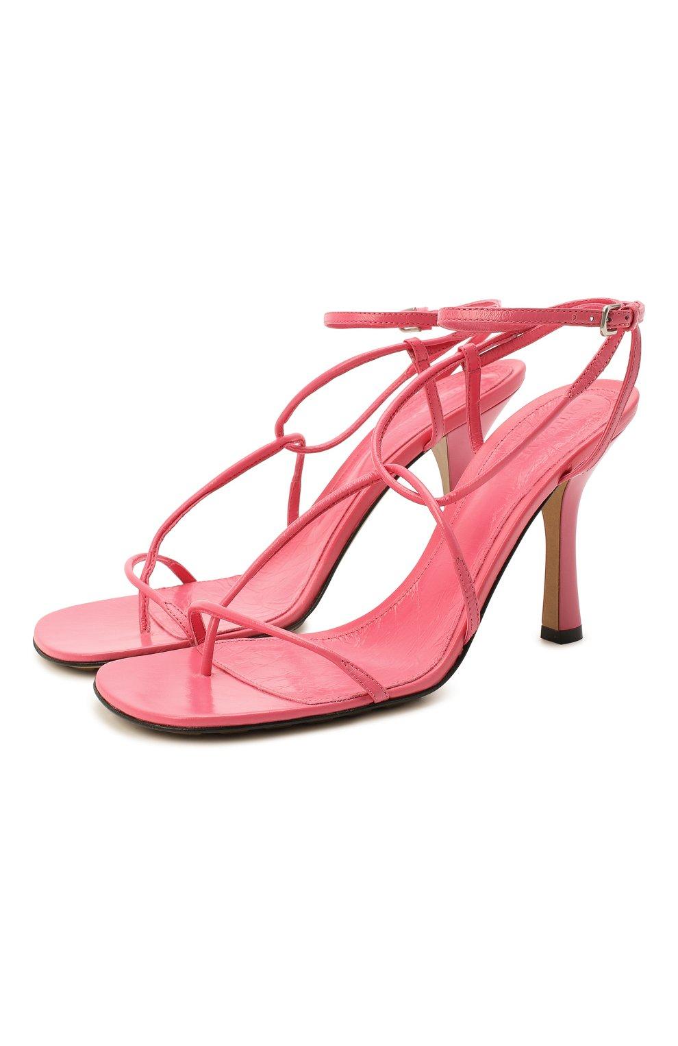Женские кожаные босоножки bv line BOTTEGA VENETA розового цвета, арт. 630178/VBP10   Фото 1