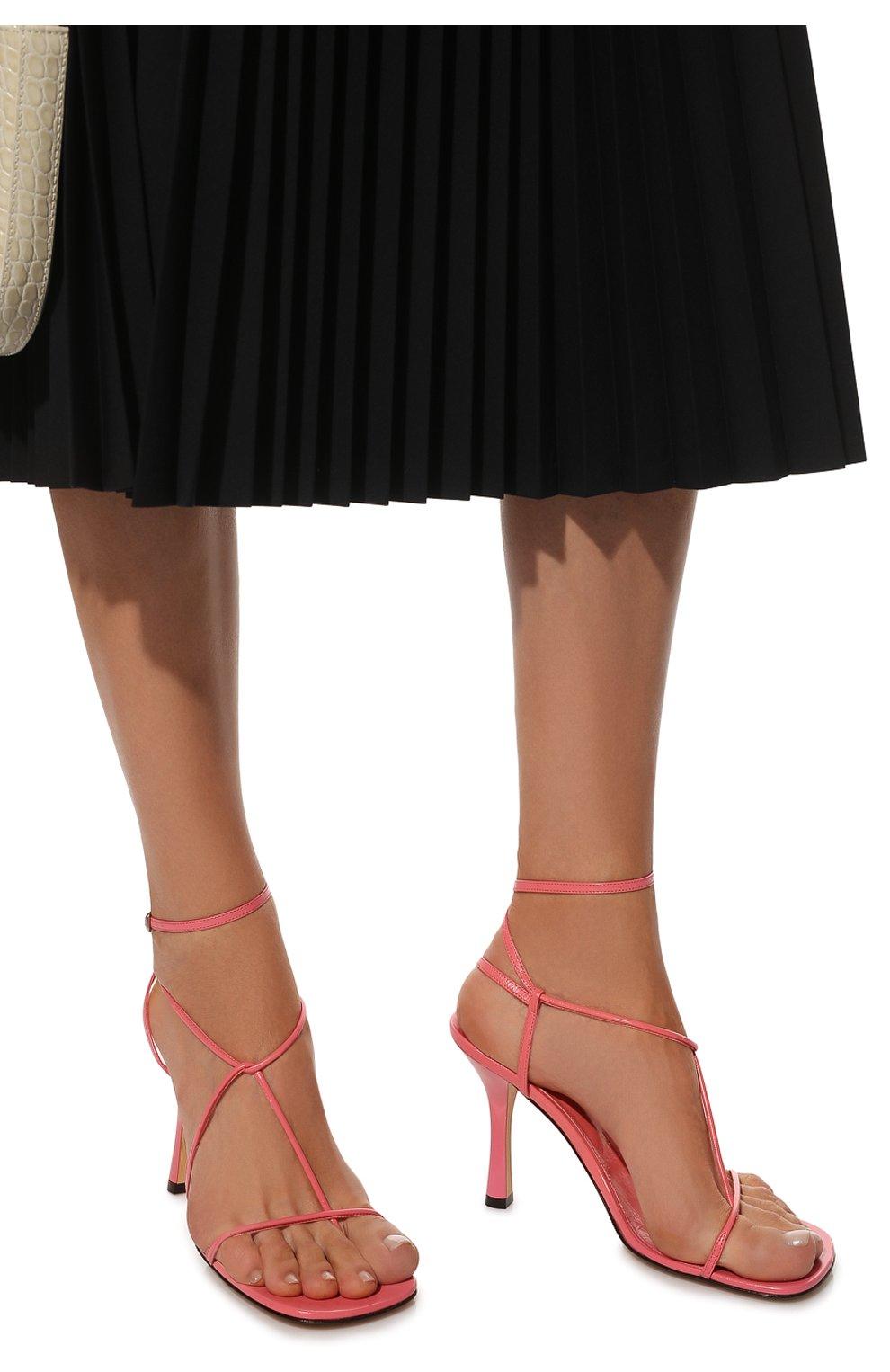 Женские кожаные босоножки bv line BOTTEGA VENETA розового цвета, арт. 630178/VBP10   Фото 3