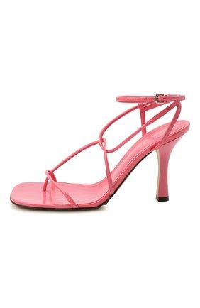 Женские кожаные босоножки bv line BOTTEGA VENETA розового цвета, арт. 630178/VBP10   Фото 4