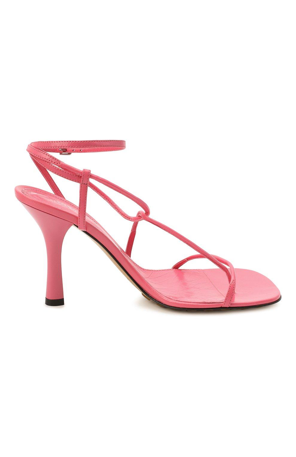 Женские кожаные босоножки bv line BOTTEGA VENETA розового цвета, арт. 630178/VBP10   Фото 5