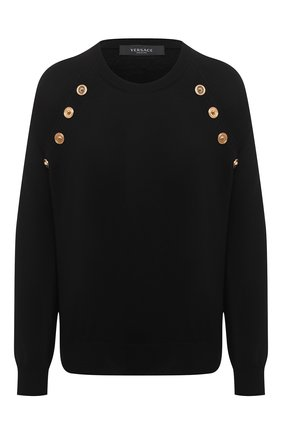 Женский шерстяной пуловер VERSACE черного цвета, арт. A87160/A235901 | Фото 1