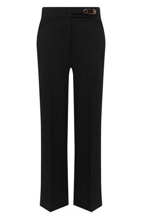 Женские шерстяные брюки VERSACE черного цвета, арт. A87366/A226027   Фото 1 (Материал внешний: Шерсть; Женское Кросс-КТ: Брюки-одежда; Случай: Формальный; Силуэт Ж (брюки и джинсы): Расклешенные; Длина (брюки, джинсы): Укороченные)