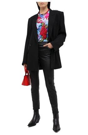 Женская хлопковая футболка VERSACE разноцветного цвета, арт. A87484/A235967 | Фото 2