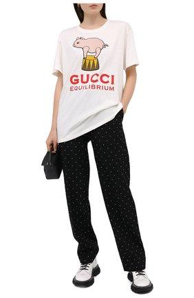 Женская хлопковая футболка GUCCI белого цвета, арт. 615044/XJCRI | Фото 2