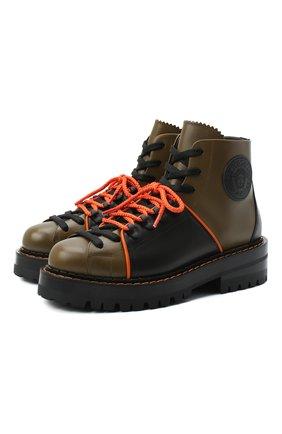 Женские кожаные ботинки VERSACE хаки цвета, арт. DST466E/DVTA3 | Фото 1
