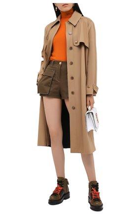 Женские кожаные ботинки VERSACE хаки цвета, арт. DST466E/DVTA3 | Фото 2