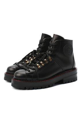 Женские кожаные ботинки VERSACE черного цвета, арт. DST466E/DVTA3 | Фото 1
