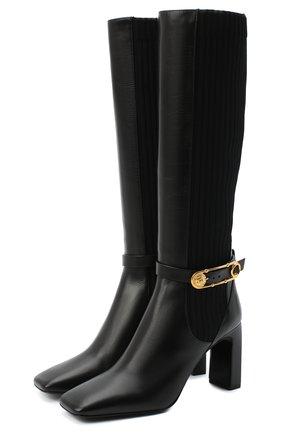 Женские кожаные сапоги safety pin VERSACE черного цвета, арт. DST472M/DVT2P | Фото 1