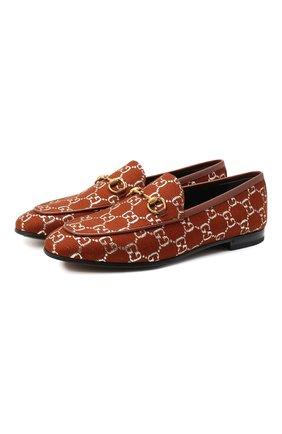 Женские текстильные лоферы new jordaan GUCCI коричневого цвета, арт. 431467/2C820 | Фото 1 (Подошва: Плоская; Материал внешний: Текстиль; Материал внутренний: Натуральная кожа; Каблук высота: Низкий)