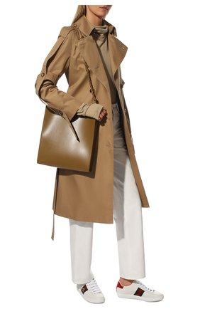 Женские кожаные кеды new ace GUCCI белого цвета, арт. 431942/02JP0 | Фото 2