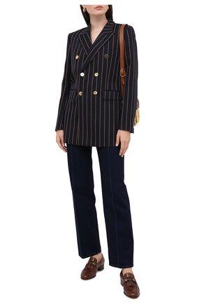 Женские кожаные лоферы paride GUCCI коричневого цвета, арт. 624316/1W610 | Фото 2