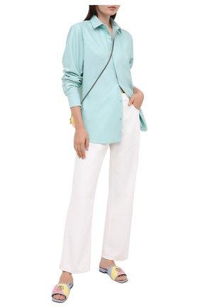 Женские кожаные шлепанцы jolie GUCCI голубого цвета, арт. 629934/0CGB0 | Фото 2