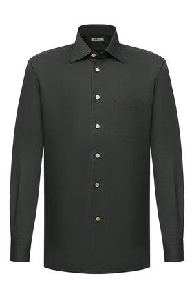 Мужская хлопковая рубашка KITON хаки цвета, арт. UMCNERH0740907 | Фото 1