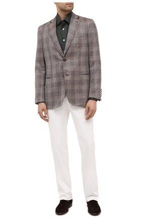Мужская хлопковая рубашка KITON хаки цвета, арт. UMCNERH0740907 | Фото 2