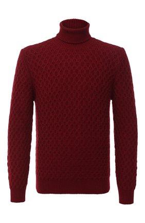 Мужской кашемировый свитер KITON красного цвета, арт. UK1205 | Фото 1 (Длина (для топов): Стандартные; Материал внешний: Шерсть; Рукава: Длинные; Принт: Без принта; Стили: Кэжуэл)