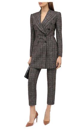 Женские брюки из шерсти и хлопка DOLCE & GABBANA коричневого цвета, арт. FTAM2T/FQMH2 | Фото 2