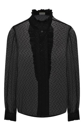 Женская шелковая блузка SAINT LAURENT черного цвета, арт. 634974/Y6A56   Фото 1 (Материал внешний: Шелк; Длина (для топов): Стандартные; Рукава: Длинные; Женское Кросс-КТ: Блуза-одежда; Принт: С принтом)