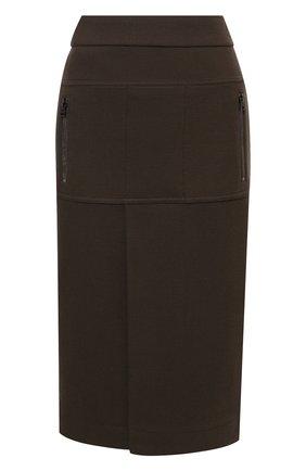 Женская шерстяная юбка TOM FORD хаки цвета, арт. GCJ267-FAX698 | Фото 1