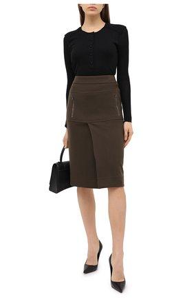 Женская шерстяная юбка TOM FORD хаки цвета, арт. GCJ267-FAX698 | Фото 2
