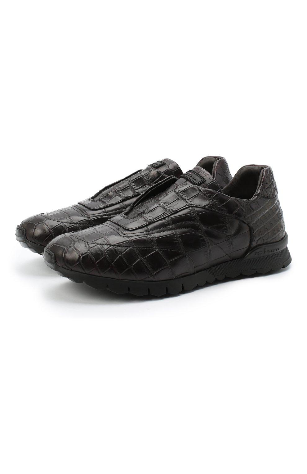 Мужские кроссовки из кожи крокодила KITON коричневого цвета, арт. USSFREEN00102/CNIL | Фото 1