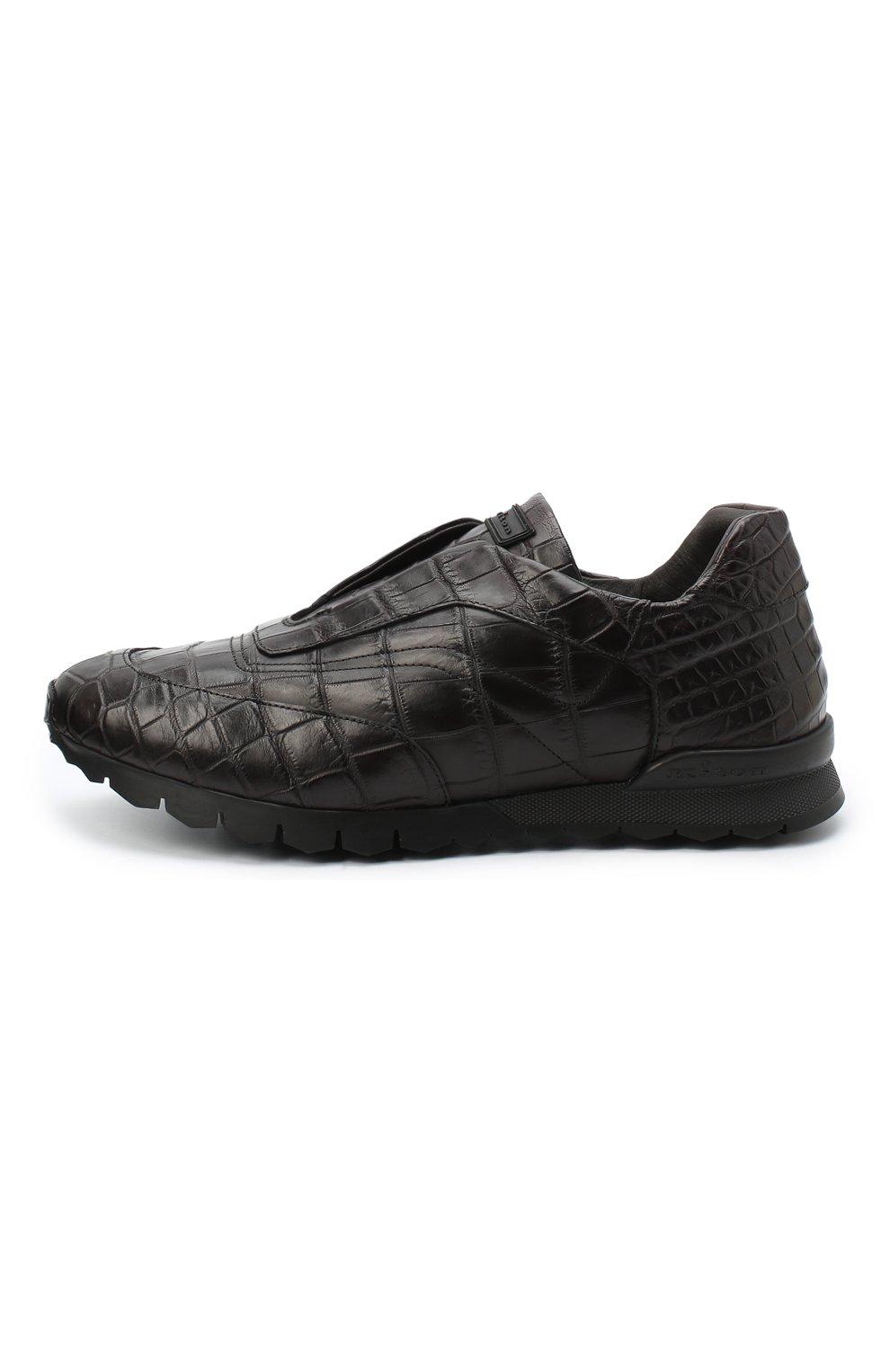 Мужские кроссовки из кожи крокодила KITON коричневого цвета, арт. USSFREEN00102/CNIL | Фото 3