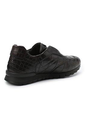 Мужские кроссовки из кожи крокодила KITON коричневого цвета, арт. USSFREEN00102/CNIL | Фото 4