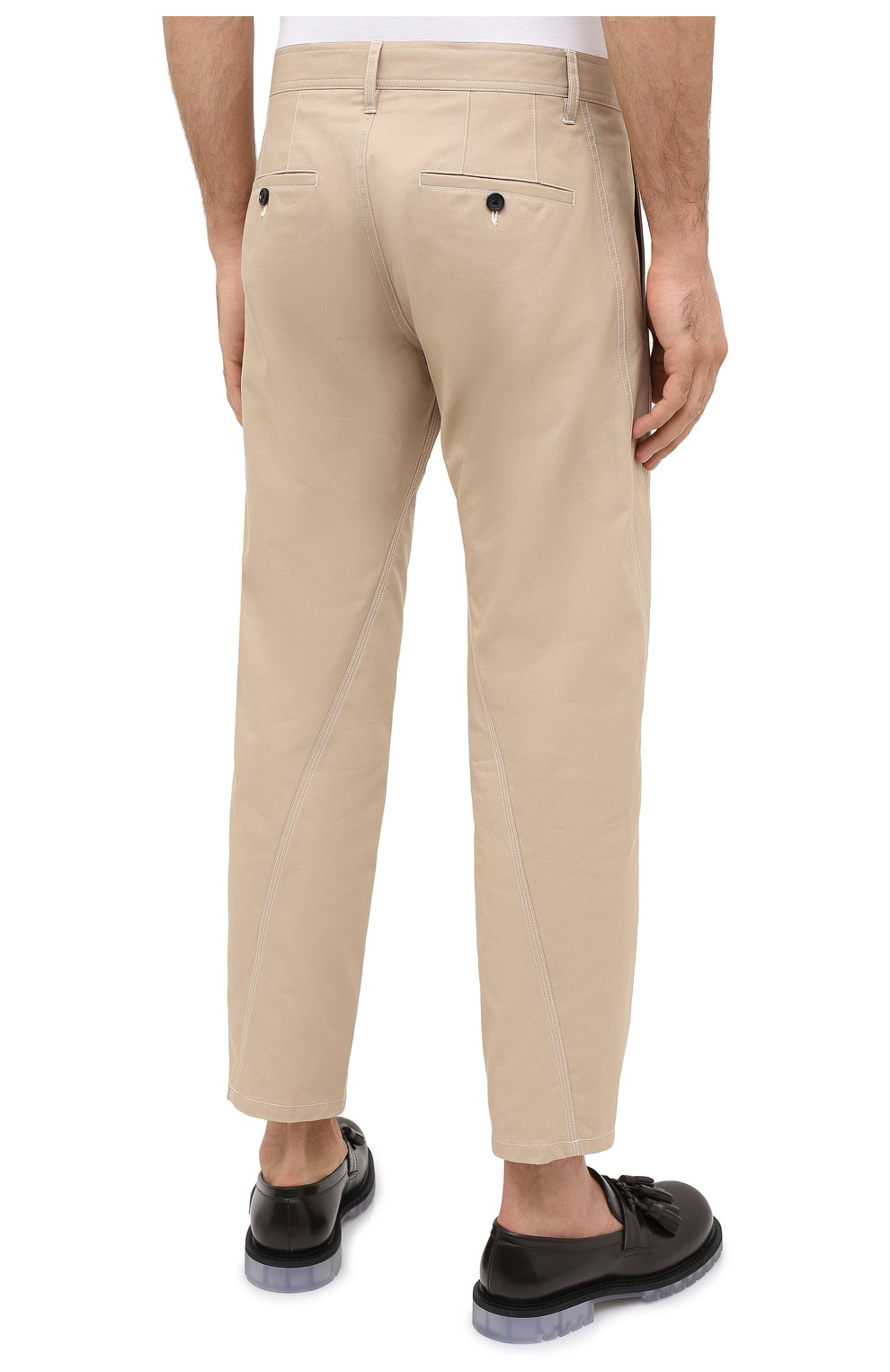Мужские хлопковые брюки LANVIN бежевого цвета, арт. RM-TR0061-4468-A20 | Фото 4