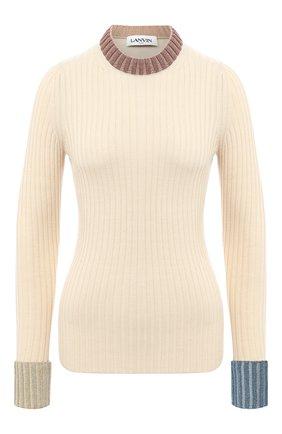 Женский пуловер из шерсти и вискозы LANVIN бежевого цвета, арт. RW-T0621M-MA05-A20   Фото 1