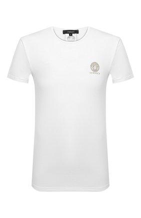 Мужские хлопковая футболка VERSACE белого цвета, арт. AUU01005/A232741 | Фото 1