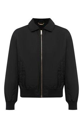 Мужской бомбер VERSACE черного цвета, арт. A87495/A222757 | Фото 1 (Материал подклада: Купро; Материал внешний: Синтетический материал; Рукава: Длинные; Длина (верхняя одежда): Короткие; Мужское Кросс-КТ: Верхняя одежда; Принт: Без принта; Стили: Кэжуэл; Кросс-КТ: Куртка)