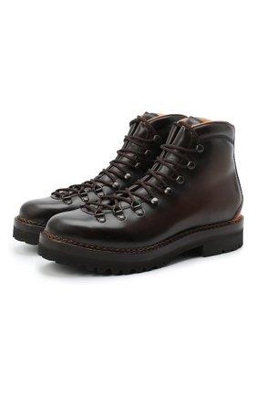 Мужские кожаные ботинки RALPH LAUREN темно-коричневого цвета, арт. 815811329 | Фото 1
