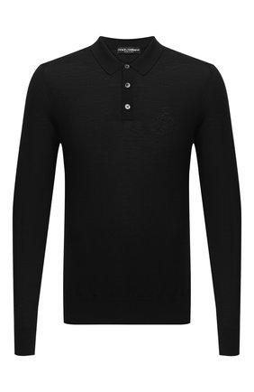 Мужское шерстяное поло DOLCE & GABBANA черного цвета, арт. GXA98Z/JAVWH | Фото 1