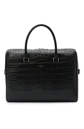 Мужская кожаная сумка для ноутбука duffle SAINT LAURENT черного цвета, арт. 625449/DZE0E | Фото 1