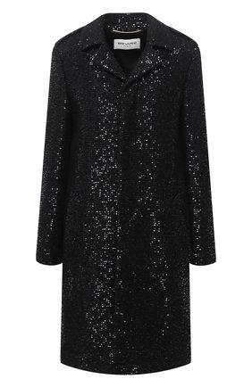 Женское пальто из шерсти и вискозы SAINT LAURENT черного цвета, арт. 626872/Y3B82 | Фото 1