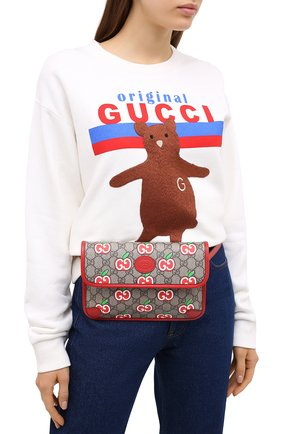 Женская поясная сумка pomme GUCCI красного цвета, арт. 625233/2EVBG | Фото 2
