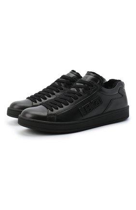 Мужские кожаные кеды KENZO черного цвета, арт. FA65SN125L50 | Фото 1