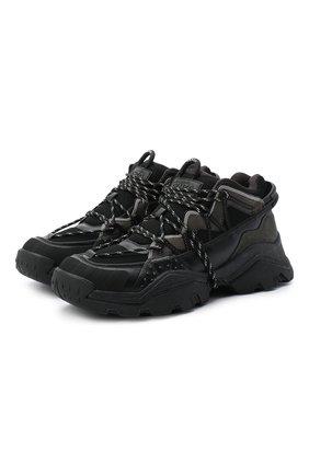 Мужские комбинированные кроссовки KENZO черного цвета, арт. FA65SN300L69 | Фото 1 (Подошва: Массивная; Материал внутренний: Текстиль; Стили: Гранж)