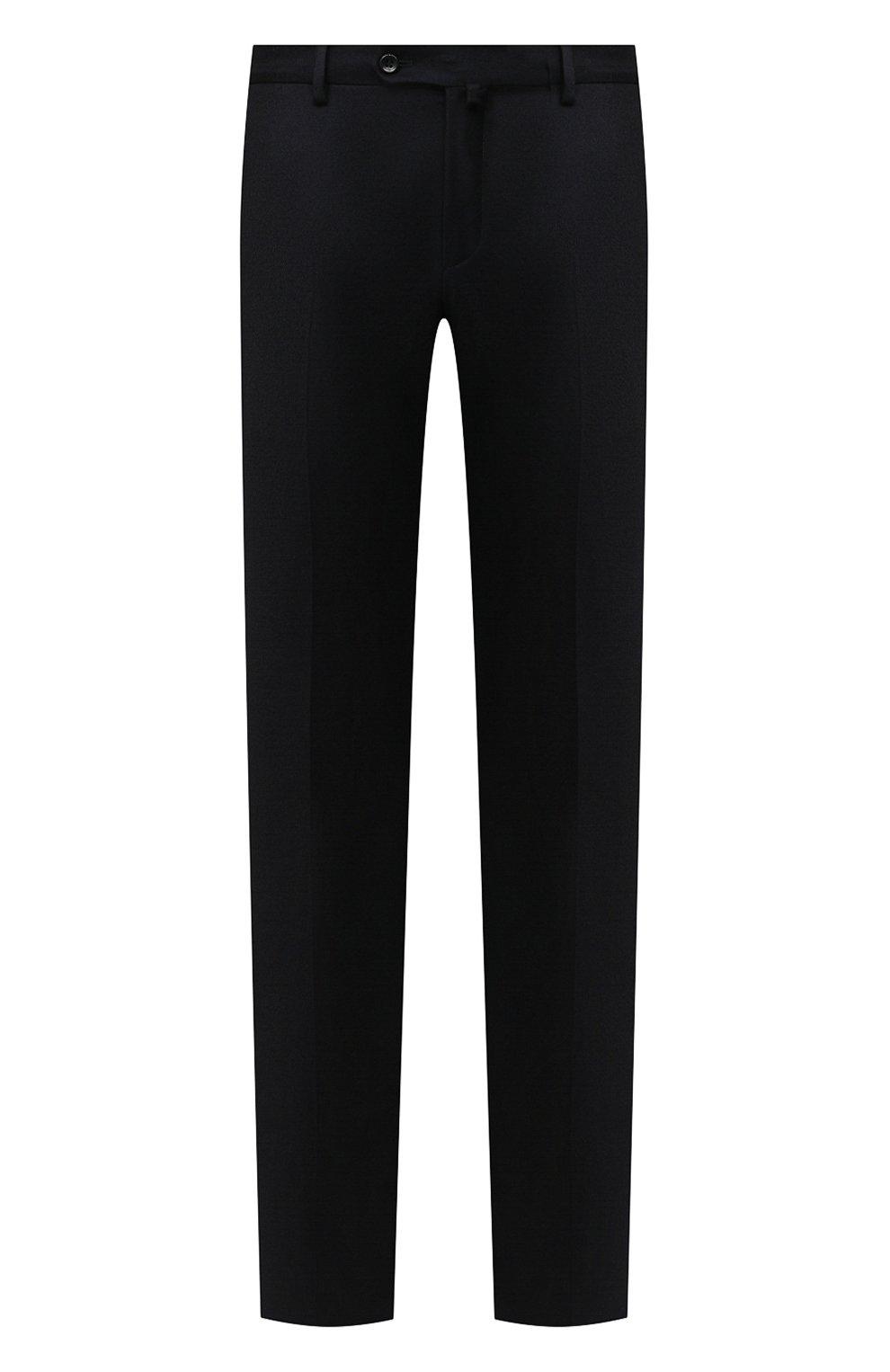Мужские брюки из шерсти и кашемира LORO PIANA темно-синего цвета, арт. FAI3433 | Фото 1 (Материал внешний: Шерсть; Длина (брюки, джинсы): Стандартные; Стили: Классический; Материал подклада: Синтетический материал; Случай: Формальный)