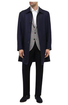 Мужские брюки из шерсти и кашемира LORO PIANA темно-синего цвета, арт. FAI3433 | Фото 2 (Материал внешний: Шерсть; Длина (брюки, джинсы): Стандартные; Стили: Классический; Материал подклада: Синтетический материал; Случай: Формальный)