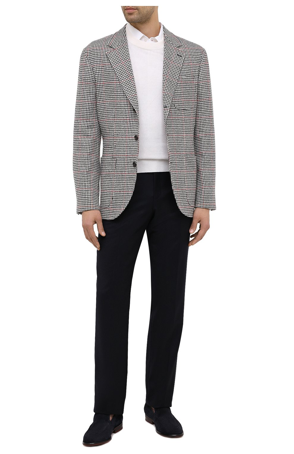 Мужские брюки из шерсти и кашемира LORO PIANA темно-синего цвета, арт. FAI3433 | Фото 3 (Материал внешний: Шерсть; Длина (брюки, джинсы): Стандартные; Стили: Классический; Материал подклада: Синтетический материал; Случай: Формальный)