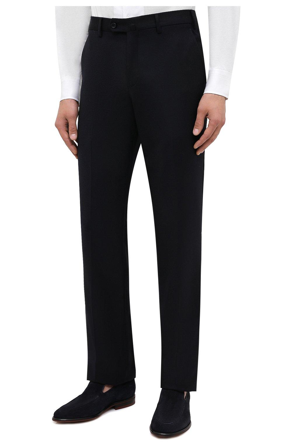 Мужские брюки из шерсти и кашемира LORO PIANA темно-синего цвета, арт. FAI3433 | Фото 4 (Материал внешний: Шерсть; Длина (брюки, джинсы): Стандартные; Стили: Классический; Материал подклада: Синтетический материал; Случай: Формальный)