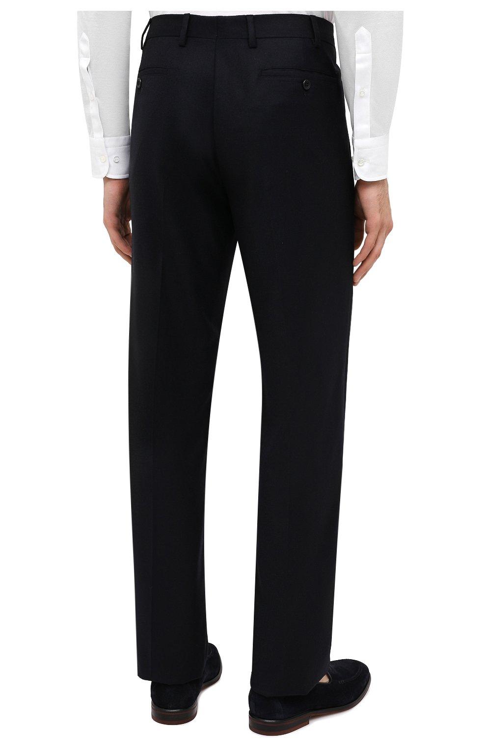 Мужские брюки из шерсти и кашемира LORO PIANA темно-синего цвета, арт. FAI3433 | Фото 5 (Материал внешний: Шерсть; Длина (брюки, джинсы): Стандартные; Стили: Классический; Материал подклада: Синтетический материал; Случай: Формальный)