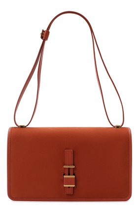 Женская сумка LORO PIANA оранжевого цвета, арт. FAL3325   Фото 1 (Ремень/цепочка: На ремешке; Материал: Натуральная кожа; Сумки-технические: Сумки top-handle, Сумки через плечо; Размер: medium)