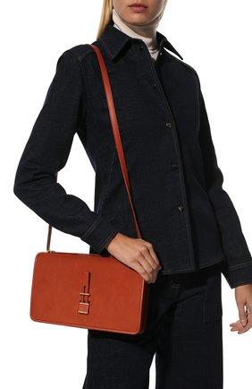 Женская сумка LORO PIANA оранжевого цвета, арт. FAL3325   Фото 2 (Ремень/цепочка: На ремешке; Материал: Натуральная кожа; Сумки-технические: Сумки top-handle, Сумки через плечо; Размер: medium)