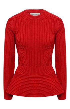 Женский шерстяной свитер ALEXANDER MCQUEEN красного цвета, арт. 633685/Q1AQV | Фото 1