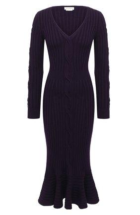 Женское шерстяное платье ALEXANDER MCQUEEN фиолетового цвета, арт. 633684/Q1AQH | Фото 1